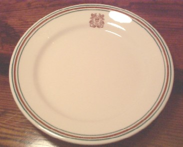 USCG Coast Guard China dinner plate burnt orange and green