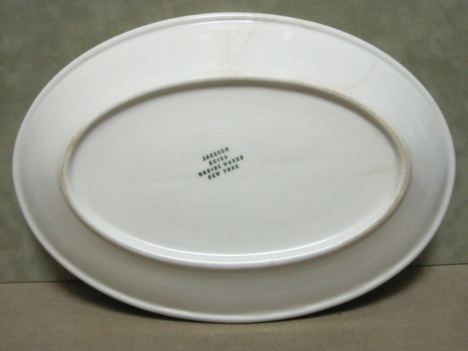 USCG Coast Guard China ivory white, green and burgundy platter