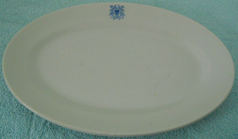 USCG Coast Guard China white serving platter, blue insignia