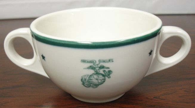 usmc us marine corps bouillon cup green stars, stripes and ega