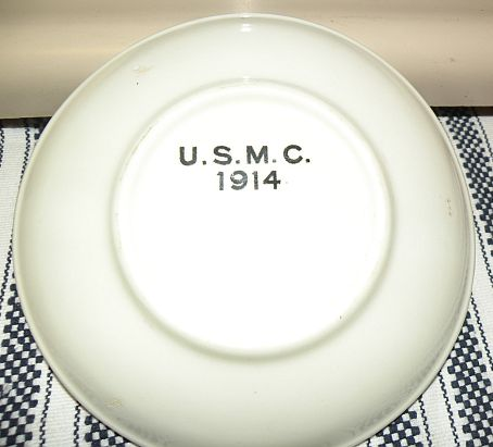 usmc marine corps white saucer dated 1914