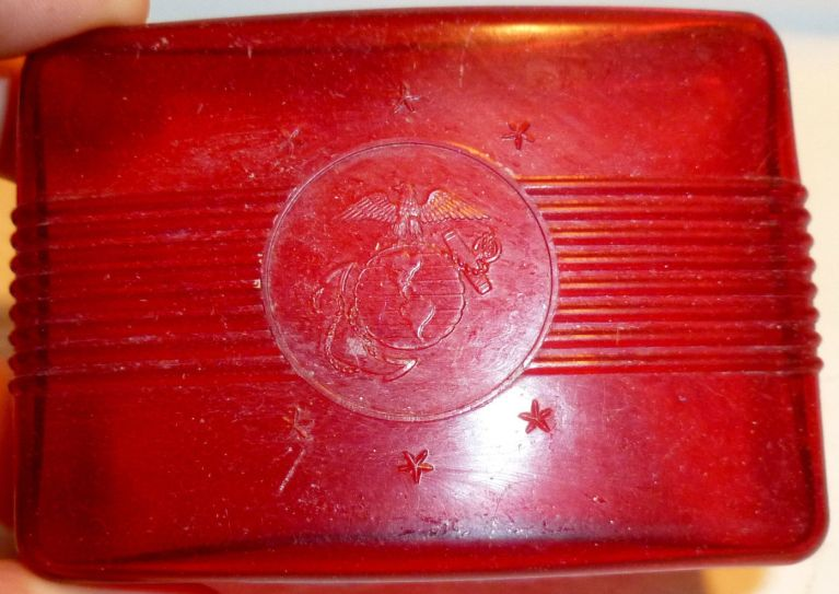 usmc marines red plastic soap dish
