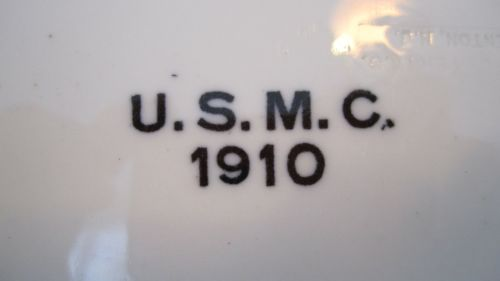 USMC Marine Corps Large Serving Platter Dated 1910 Backstamped USMC, Maddock & Son Pottery Co. Trenton NJ