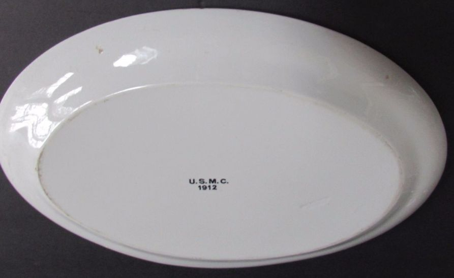 plain white large serving platter dated 1912 and hallmarked USMC