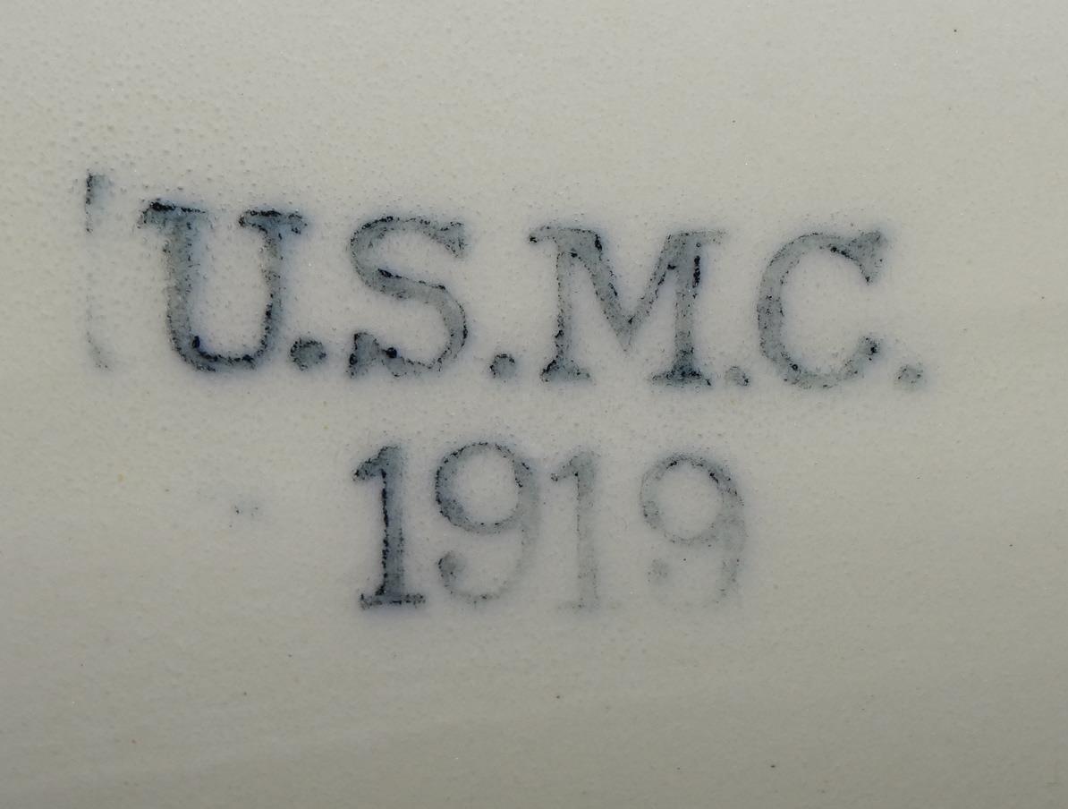 USMC Marine Corps Large Deep Antique Serving Platter - 1919