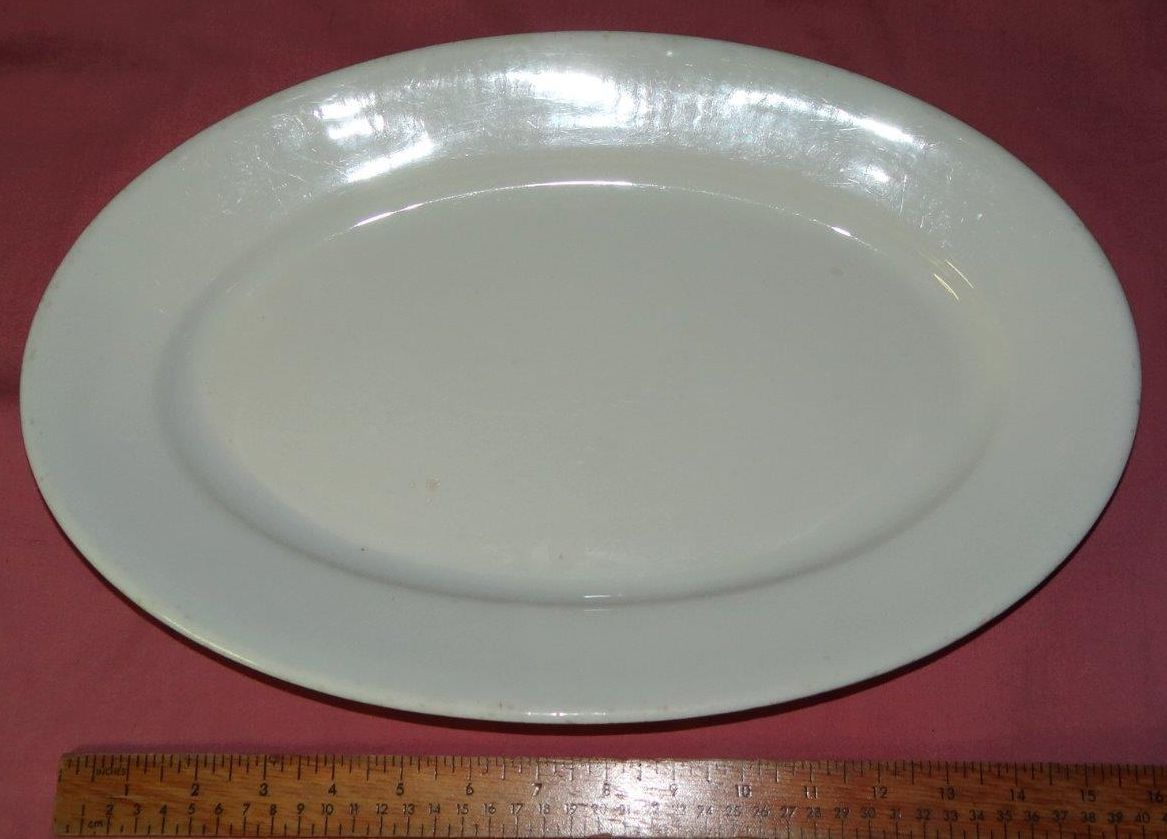 ... plain white large serving platter dated 1919 & USMC US Marine Corps China Serving Platter Dated and Hallmarked 1919 ...