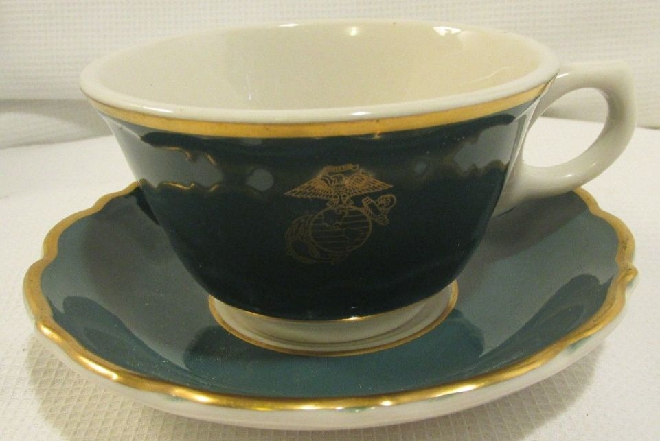 usmc marine corps EGA on green body china coffee cup and saucer