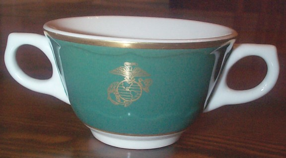 usmc general officers mess bouillon cup with 2 handles ca 1968-1973