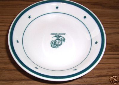 usmc us marine corps cereal bowl, green stars, stripes and ega