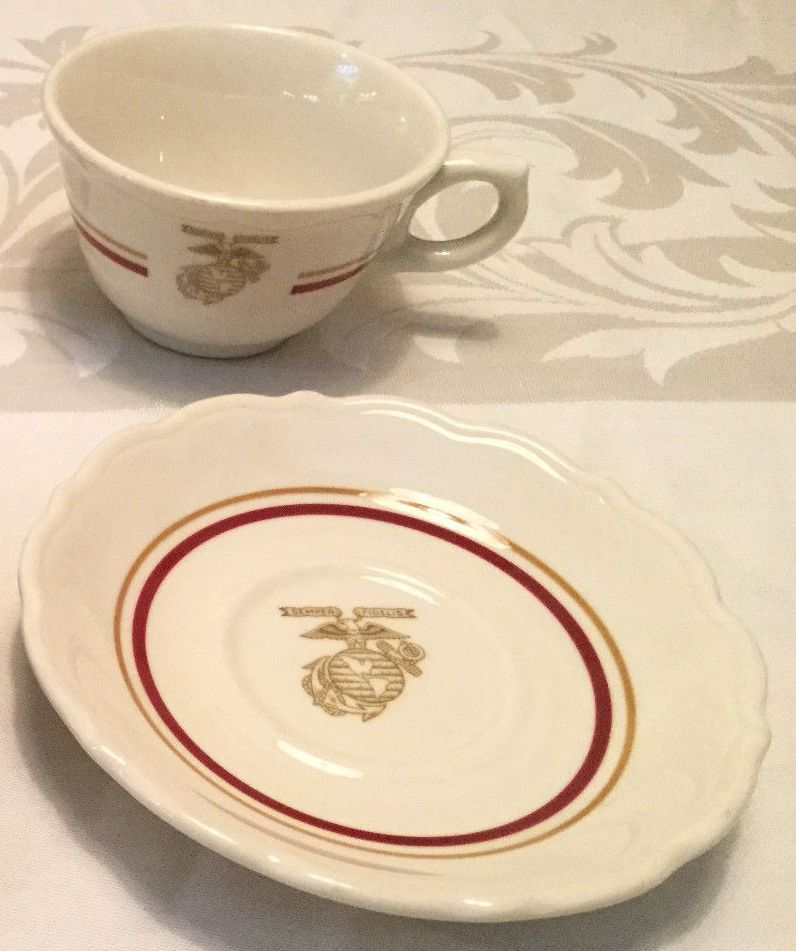 usmc marines wwii korea full size coffee cup and saucer