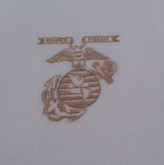 USMC Marine Corps Dinner Plate with Burgandy and Gold Sriping and Gold EGA