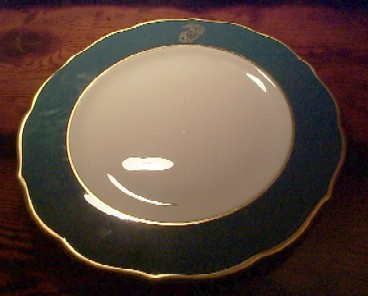usmc marine corps dinner plate, green and gold