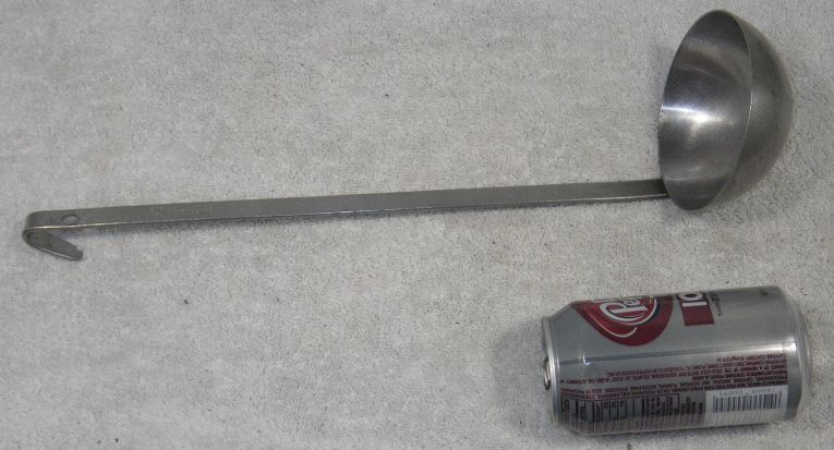 WW2, marked USMC, stainless steel large soup food ladle, 1945