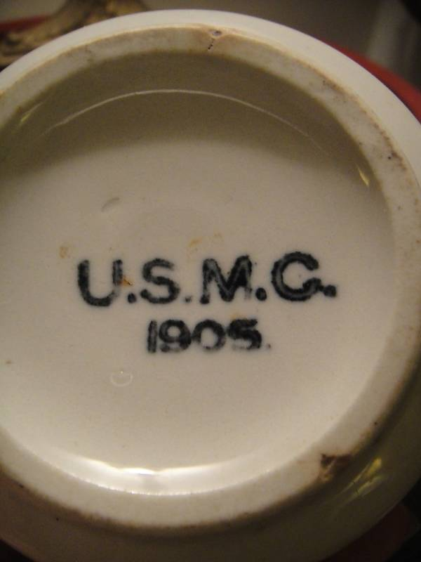 usmc marine corps white mug dated 1905