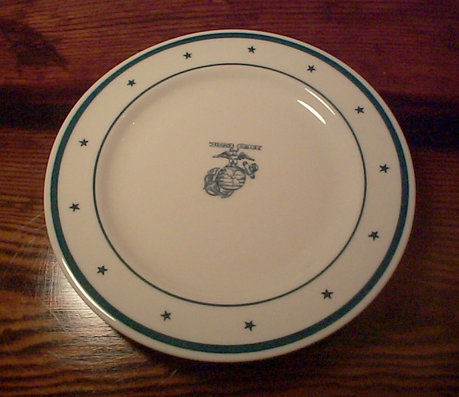 usmc marine corp salad plate with green stars, stripes, ega