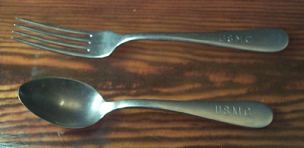 USMC WWII Marine Corps Stainless Steel Mess Serving Spoon