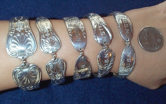 Nautical Bracelets On Arm: Kings Pattern Large, Kings Pattern Small, Rose & Leaf, Avalon, and First Love patterns