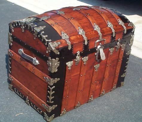 Antique Trunk Used As Military Navy Shadow Box Retirement Gift