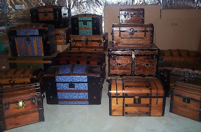 collection of restored and ready to ship antique steamer trunks & THE STEAMER TRUNK Worldwide Authority on Antique Steamer Trunks and ...