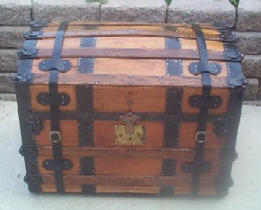 LARGE All Wood Restored Antique Furniture Steamer Trunk with Nautical theme, Dated 1873