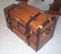 100+ year old Antique Domed Trunk, Oak Handles and Working Lock with Key. RARE