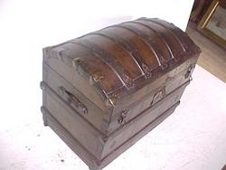 100+ year old Antique Dome Top Steamer Trunk, very Nautical look, Leather Handles