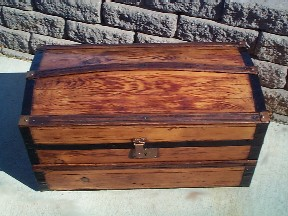 Captains Domed Sea Chest #4 closed side view