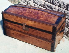 100+ year old Antique Dome Top Steamer Trunk, Small