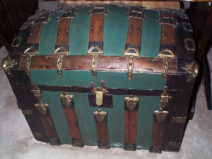 LARGE Antique Pirate Treasure Chest, Sea Chest, Green Metal Cladding