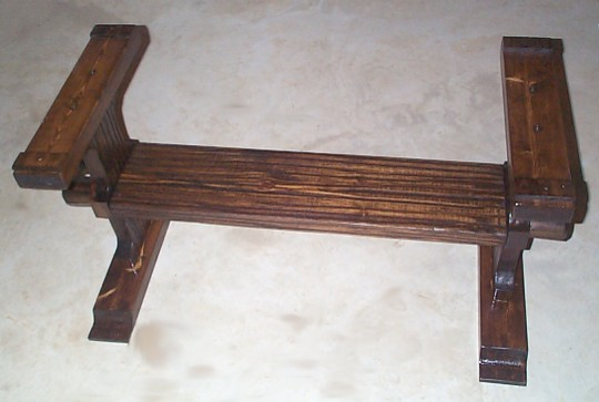 photo of nautical coffee table trestle stained with protective wood coating - ONLY $125