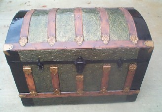 Antique Furuniture Steamer Chest, beautiful filigree metal cladding