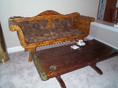 nautical coffee table, liberty ship wooden hatch cover table, 2 plank construction! Rare!