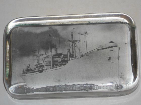 WWII US Navy Liberty Ship Glass Paperweight