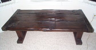Liberty Ship Wooden Hatch Cover Nautical Table Sanded Smooth, Dark Stain