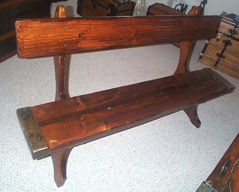 Nautical Bench from the plank of a restored WWII Liberty Ship Hatch Cover