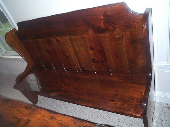 Nautical High Backed Bench or Pew from the plank of a restored WWII Liberty Ship Hatch Cover