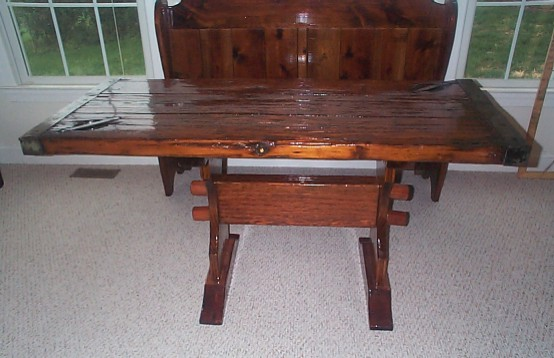 Nautical Table from restored WW2 Liberty Ship Hatch Cover