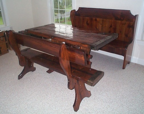 Nautical Bench as part of a Pew, Table Set