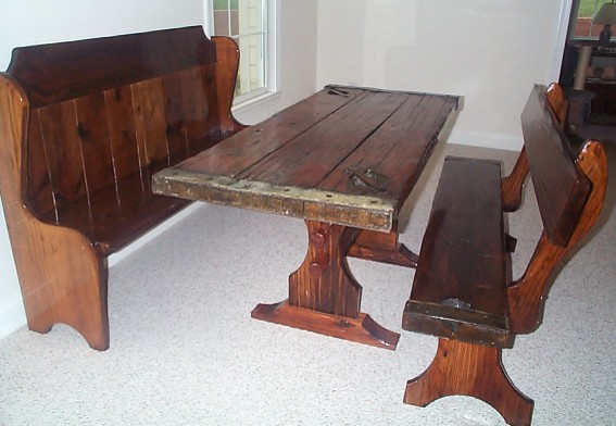 Complete Set of Nautical Furniture, Table and 2 Benches from restore WWII Liberty Ship Hatch Cover