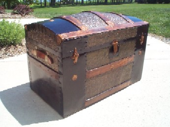1895 LARGE Antique Dome Top Steamer Chest, perfect Nautical Furniture decor