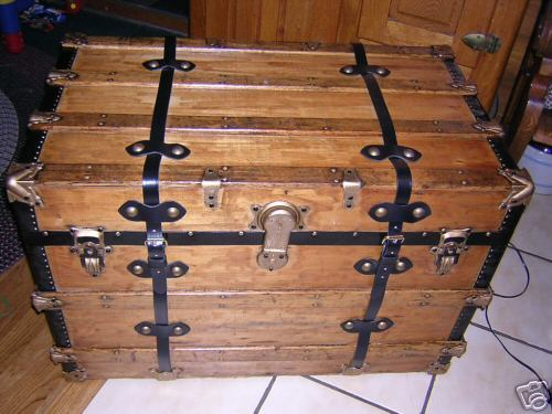 100+ year old Antique Flatop Flat Top Pirates Treasure Chest