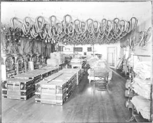 Showroom Sales Room of Horse Collars, Bridles, and Steamer Trunks