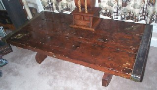 nautical furniture, liberty ship wooden hatch cover table, 3 plank construction! Rare!