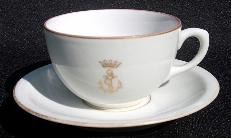 Authentic Spanish Navy (Armada De Espana or Marina Espanola) Coffee Cup and Saucer Dinnerware and Tableware with the Naval Insignia consisting of a Royal ... & Spanish Navy or Armada de Espana of Spain Dinnerware and Tableware